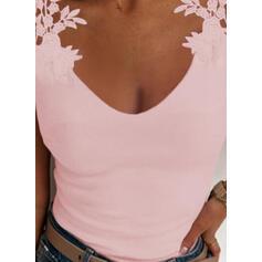 Δαντέλα Egyszínű Kerek nyak Αμάνικο Μπλουζάκια