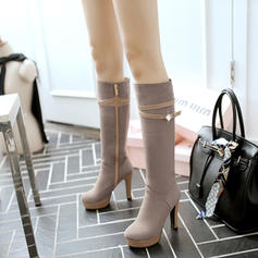 Women's Suede Leatherette Stiletto Heel Boots Knee High Boots With Rhinestone Buckle Zipper shoes