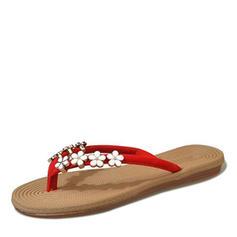 Women's Leatherette Flat Heel Sandals Flats Slingbacks Flip-Flops With Beading Flower shoes