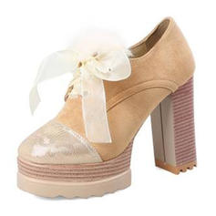Dla kobiet Zamsz Obcas Slupek Czólenka Platforma Zakryte Palce Z Wstążka Futro Łączona obuwie
