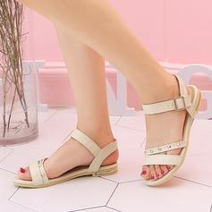 Femmes PU Talon plat Sandales Chaussures plates À bout ouvert Escarpins avec Rivet Boucle chaussures