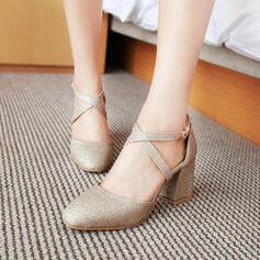 Women's PU Chunky Heel Pumps Closed Toe With Others shoes