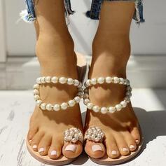 Femmes PU Talon bas Sandales Chaussons Anneau d'orteil avec Perle d'imitation chaussures