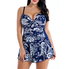 Low Waist Tropical Print Strap Plus Size Swimdresses Swimsuits