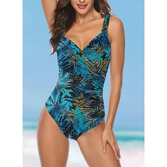 Print Strap V-Neck Vintage Plus Size One-piece Swimsuits