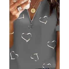 Nadruk Serce Dekolt w kształcie litery V Krótkie rękawy Casual Bluzki