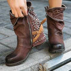 Women's PU Low Heel Martin Boots With Rivet Zipper shoes