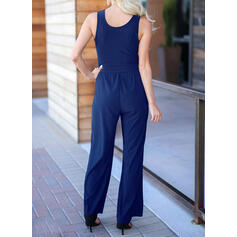 Solide V-hals Mouwloos Casual Jumpsuit