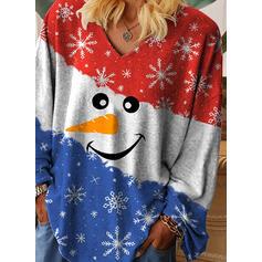 Print Color Block V-Neck Long Sleeves Casual Christmas T-shirts