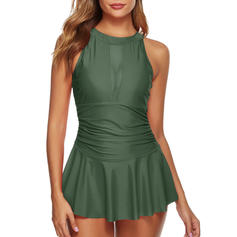 Solid Color Mesh High Neck Cute Swimdresses Swimsuits