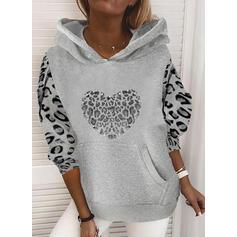Leopard pailletter Lange ærmer Hoodie