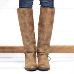 De mujer PU Tacón ancho Botas a la rodilla con Cordones Material Block zapatos