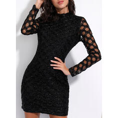 Solid Long Sleeves Bodycon Above Knee Little Black/Party/Elegant Dresses