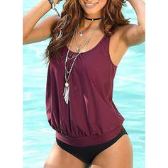 Solid Color Strap U-Neck Elegant Tankinis Swimsuits