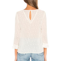 Solid Round Neck Long Sleeves Casual Elegant Blouses