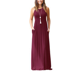 Solid Sleeveless A-line Little Black/Casual Maxi Dresses