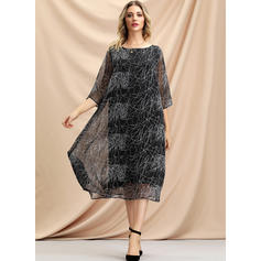 Print 3/4 Sleeves Shift Knee Length/Midi Casual Dresses