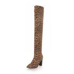 De mujer Ante Tacón ancho Botas Botas sobre la rodilla zapatos