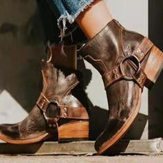 Frauen PU Stämmiger Absatz Absatzschuhe Stiefel mit Reißverschluss Schuhe