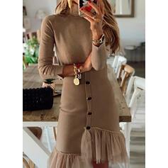 Jednolita Długie rękawy Pokrowiec Długośc do kolan Casual Sukienki