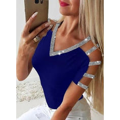 Sequins V-Neck Short Sleeves Casual Sexy Knit Blouses