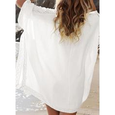 Enfärgad V-ringning Klassisk stil Strandklänningar Badkläder