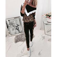 Met capuchon Lange Mouwen Afdrukken Sexy Top & broek sets