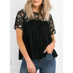 Solid Floral Round Neck Short Sleeves Casual Blouses