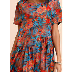 Print/Floral Short Sleeves Shift Casual Midi Dresses