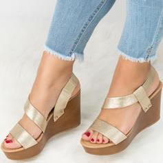 Femmes PU Talon compensé Sandales Plateforme Compensée À bout ouvert chaussures