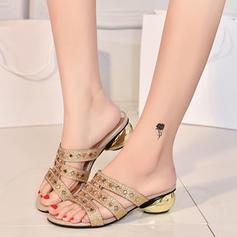 Kvinnor Konstläder Flat Heel Sandaler Platta Skor / Fritidsskor Peep Toe Tofflor med Strass skor
