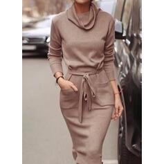 Egyszínű Hosszú ujjú Testre simuló ruhák Ołówkowa Hétköznapokra Midi φορέματα
