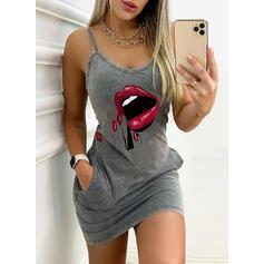 Print Sleeveless Bodycon Above Knee Casual Slip Dresses