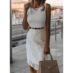 Lace Sleeveless Bodycon Knee Length Little Black/Casual/Elegant Dresses