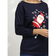 Print One-Shoulder Long Sleeves Casual Christmas Blouses