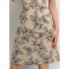 Print Short Sleeves A-line Knee Length Casual Dresses