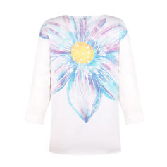 Print Floral V-Neck 3/4 Sleeves Casual T-shirts