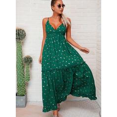 PolkaDot Sleeveless A-line Slip Casual/Vacation Maxi Dresses