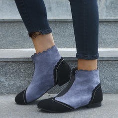 Women's Suede Flat Heel Ankle Boots With Split Joint shoes