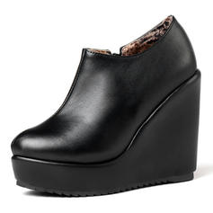 Women's Leatherette PU Wedge Heel Pumps Platform Closed Toe Wedges With Others shoes