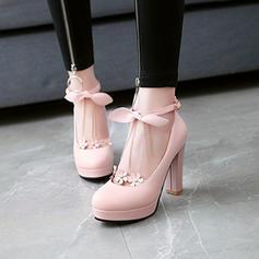 Donna PVC Tacco spesso Stiletto Piattaforma con Bowknot Catenina Nappa Fiore scarpe