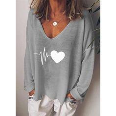 Trykk Hjerte V-hals Lange ermer Casual Strikking T-skjorter
