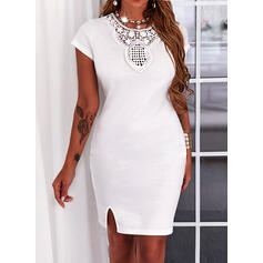 Solid Lace Short Sleeves Sheath Above Knee Casual Dresses