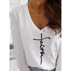 Print Figur V-hals Lange ærmer Casual T-shirts