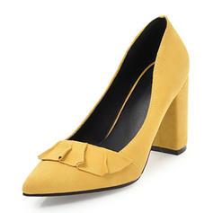 Femmes Suède Talon bottier Escarpins Bout fermé avec Plissé chaussures