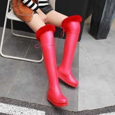 Leatherette Low Heel Platform Over The Knee Boots With Bowknot Fur shoes