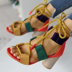 Donna PU Tacco spesso Sandalo Punta aperta con Cava-out scarpe