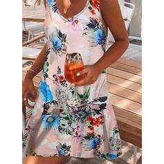 Imprimeu/Floral Kolsuz Shift Elbiseleri Până la Genunchi gündelik Elbiseler