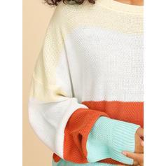 Geblockte Farben Zopfmuster Grobstrick Rundhalsausschnitt Pullover