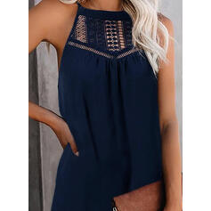 Lace/Solid/Patchwork Sleeveless Shift Above Knee Casual Dresses
